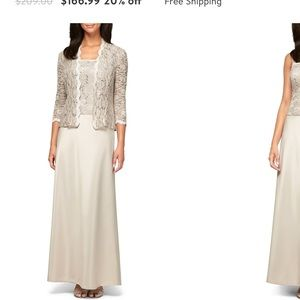 Alex Evening's Gown Taupe 16 Jacket Lace Sequence
